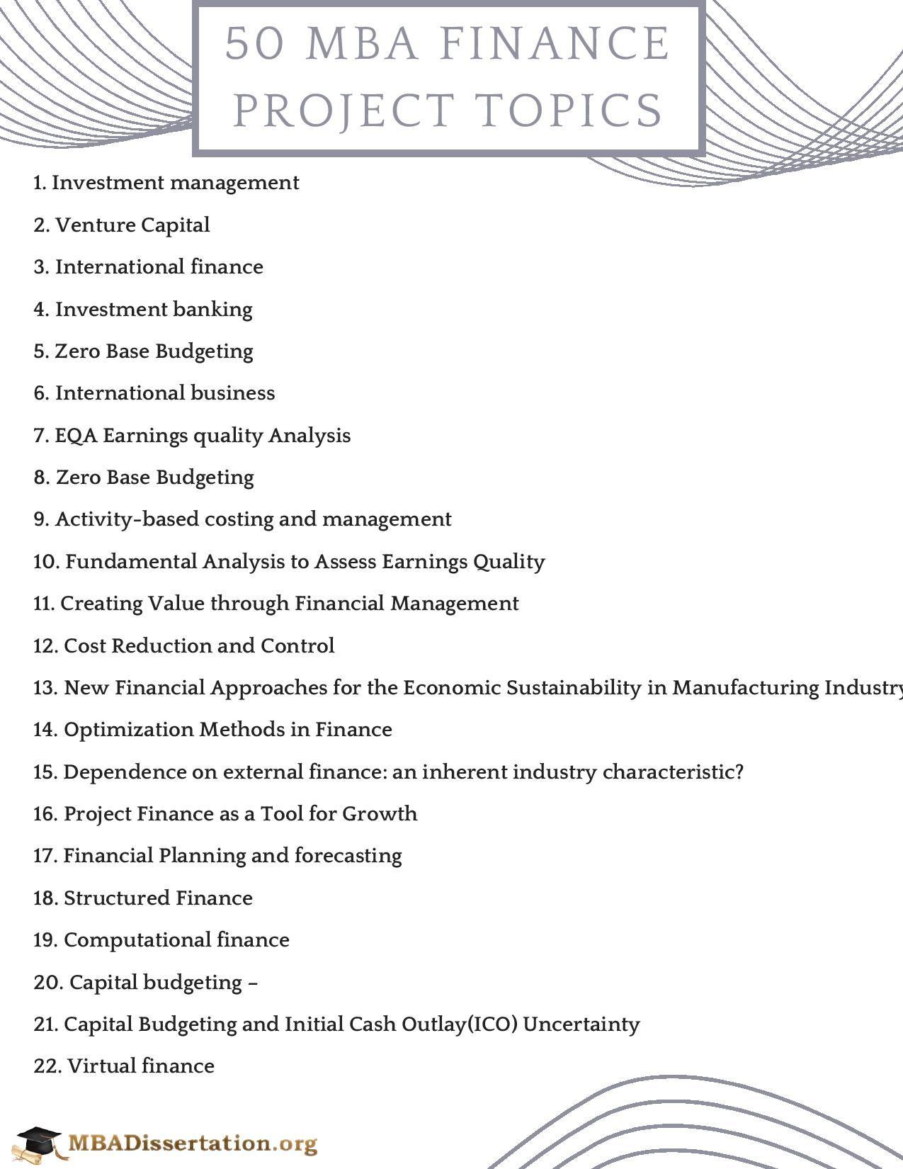 Finance Project Topic Mba Blog Marketing Dissertation On
