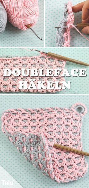 Crochet double face – instructions gratuites avec technique de base pour les porte-pots – Talu.de   – Kleidung