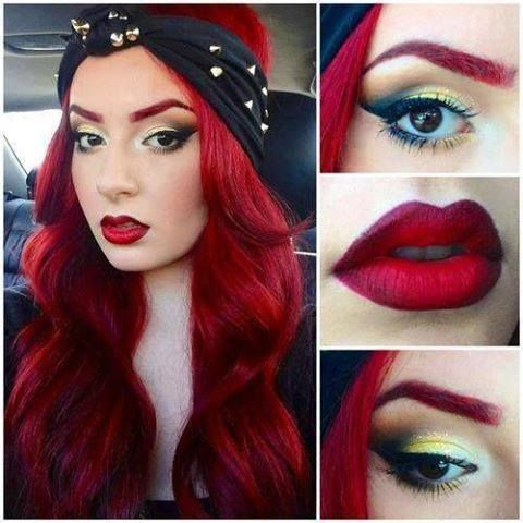 Sexy red hair, red lips, and red eyebrows