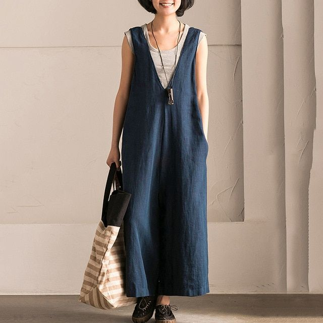 6c9e8b9a11878 Wide Leg Trouser Women Vintage Bib Overalls Sleeveless Strappy Solid Loose  Rompers Jumpsuits Pants Plus Size