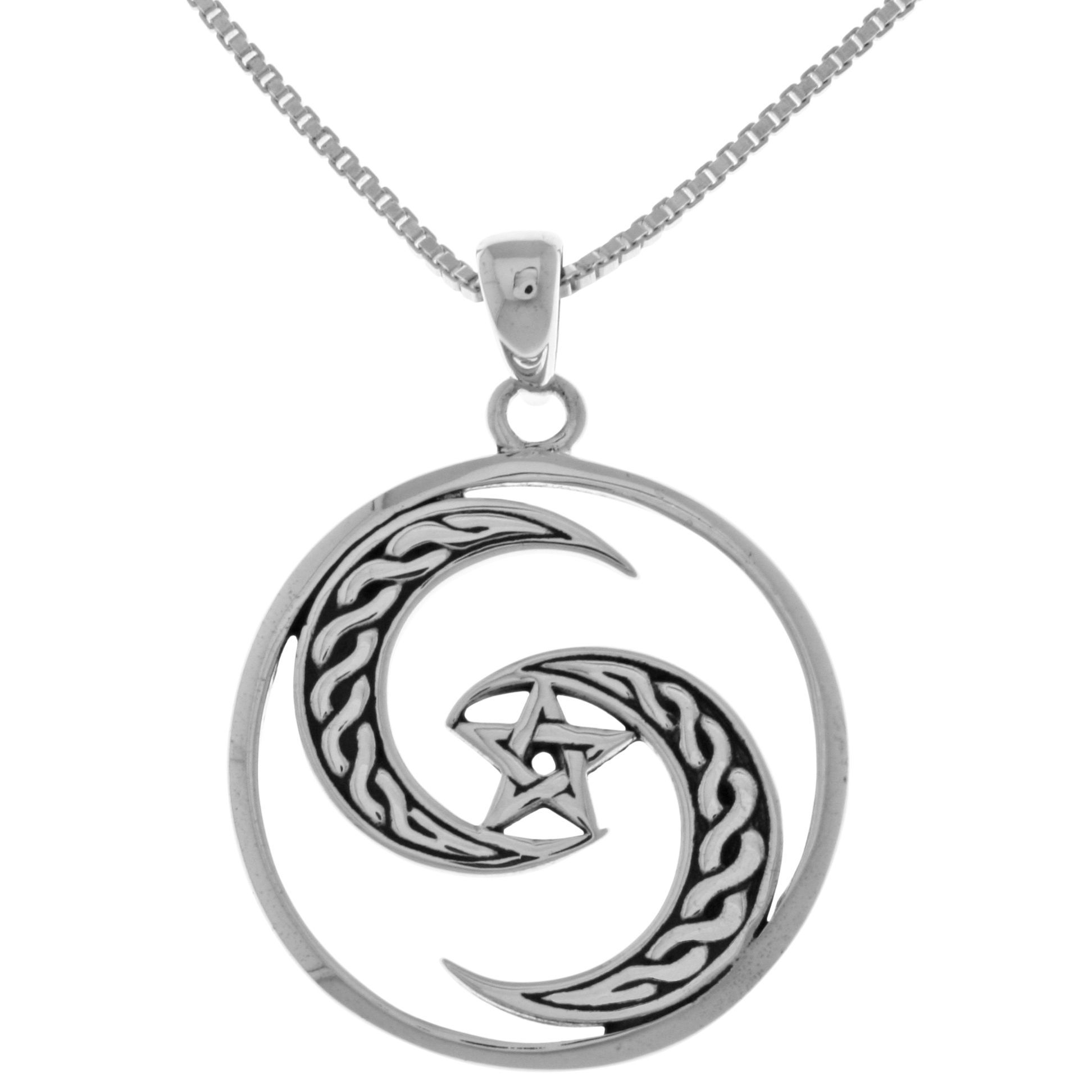 Carolina glamour collection sterling silver goddess celtic moon carolina glamour collection sterling silver goddess celtic moonpentacle pendant on 18 inch mozeypictures Choice Image