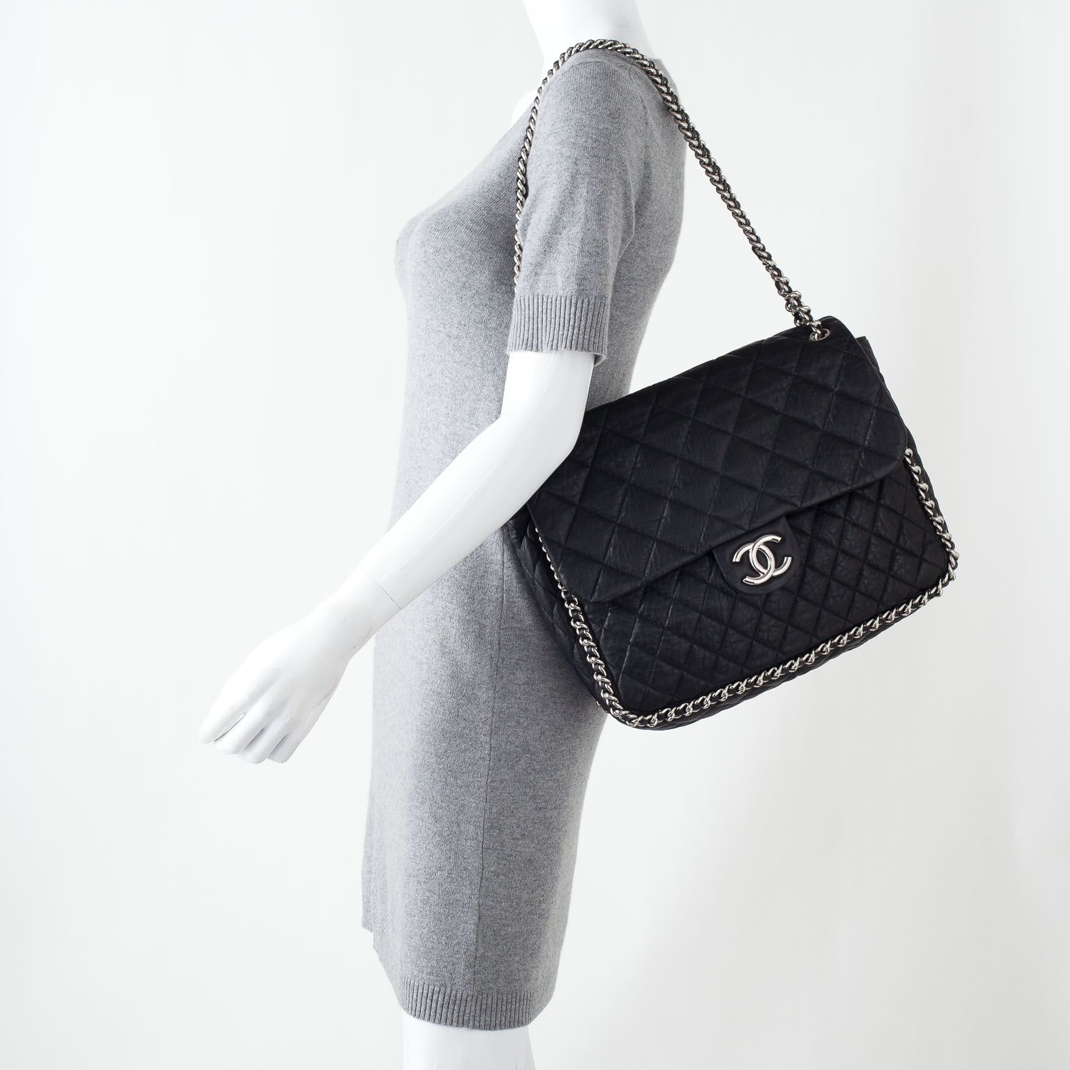 c2a0aeb465e0c8 CHANEL Washed Lambskin Chain Around Maxi Flap Bag Black | Wish List ...