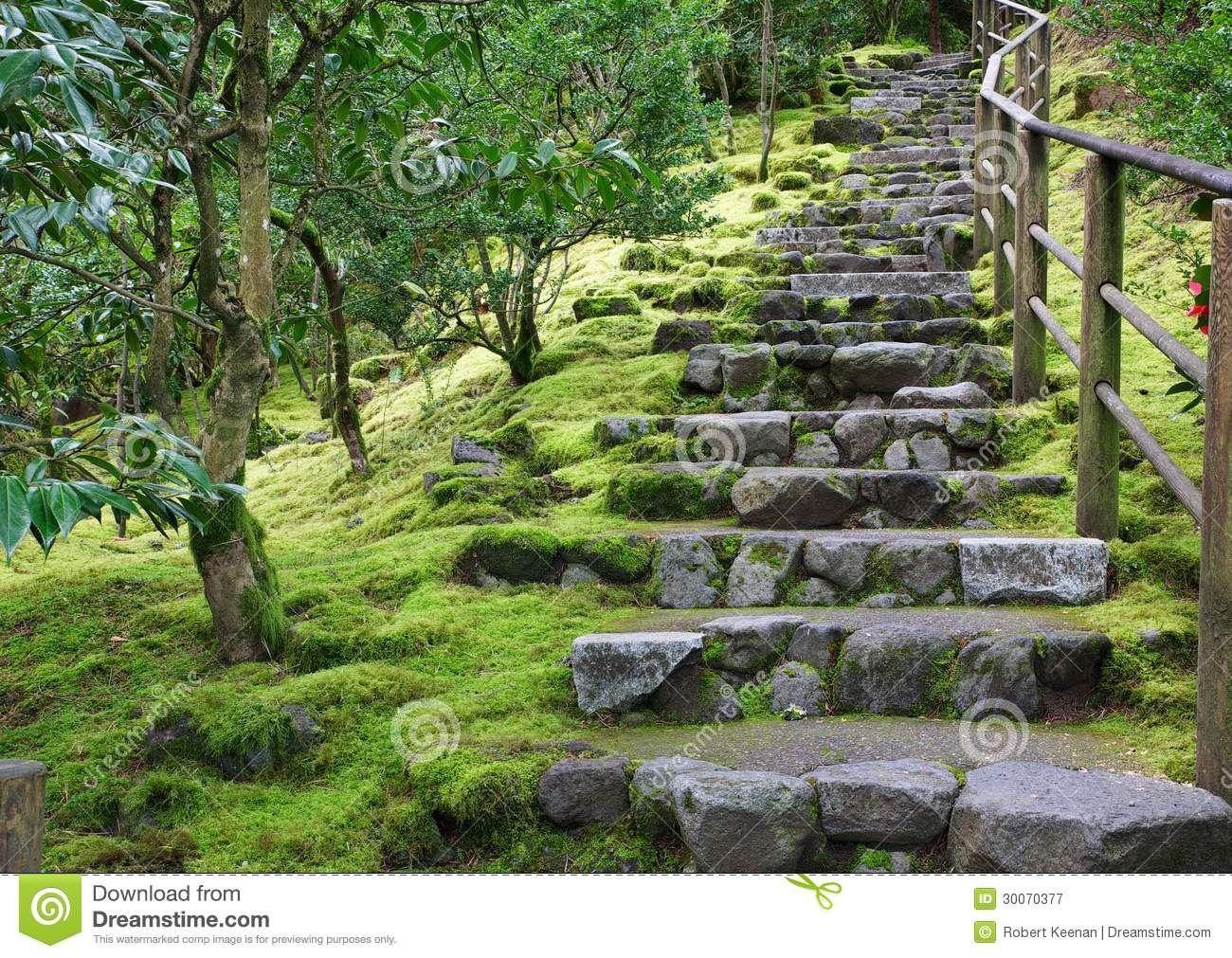 Escalier De Jardin Escalier Asiatique De Pierre De Jardin Avec La ...
