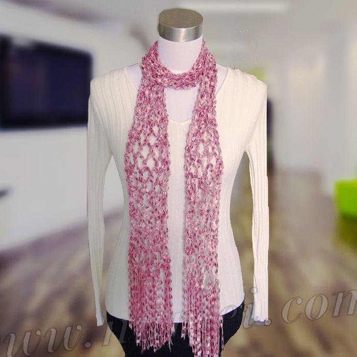Free Crochet Pattern Diamond Mesh Scarf Ladder Ribbon Maxi