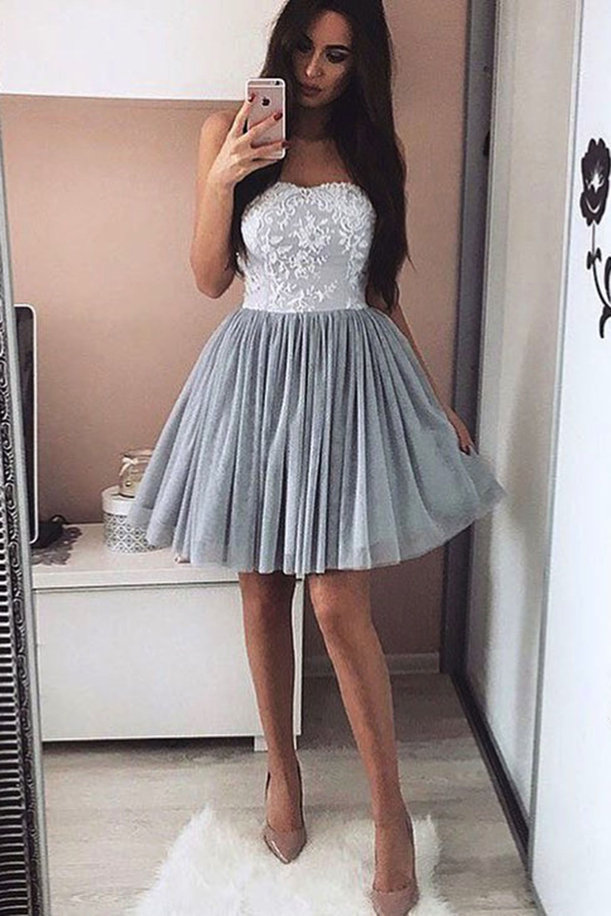 4e0d986a9a1 Cute gray lace prom dress, homecoming dress, fashion short prom dress for  teens