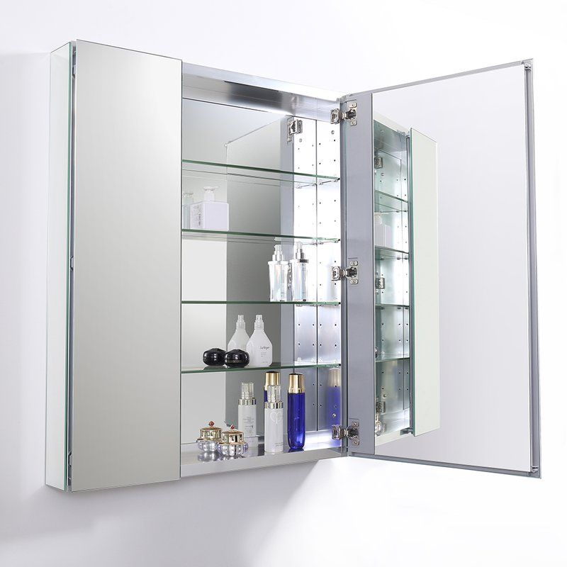 Senza Recessed Or Surface Mount Frameless Medicine Cabinet With 4