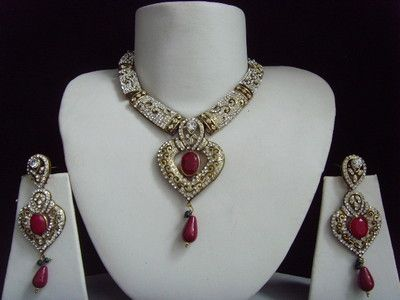 VINTAGE VICTORIAN MUGHAL INDIAN JEWELLERY NECKLACE EARRINGS