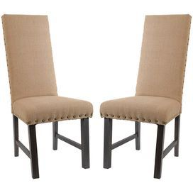 Pairing heirloom-worthy style with on-trend appeal, this beautifully crafted design adds storied allure to your dining room d�cor.Product: Set of 2 chairsConstruction Material: Wood and cottonColor: TanDimensions: 45 H x 19.7 W x 26.4 D each