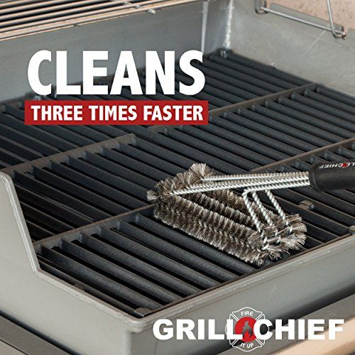 BBQ Grill Brush By GRILL CHIEF 18 3 Stainless Steel Brushes in