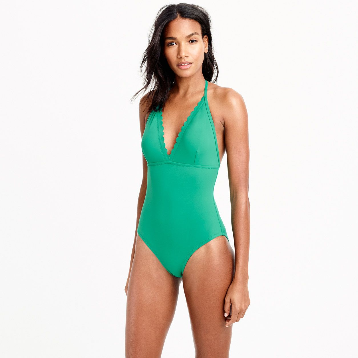 428f7eee42 J.Crew Womens Scalloped V-Neck One-Piece Swimsuit In Italian Matte (Bright  Jade, Size 0)