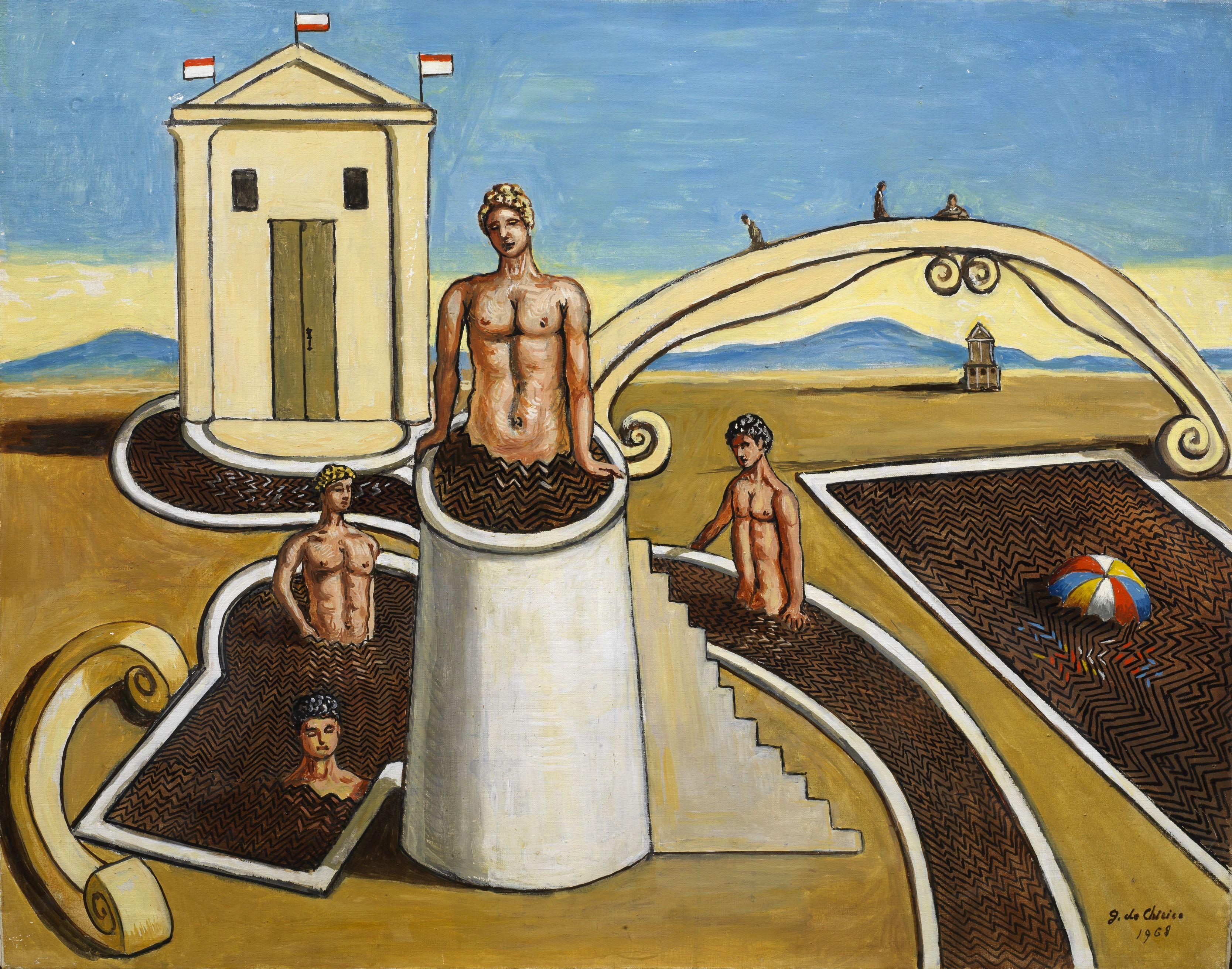 Giorgio de Chirico, Bagni misteriosi, 1968.  Courtesy Tornabuoni Art.