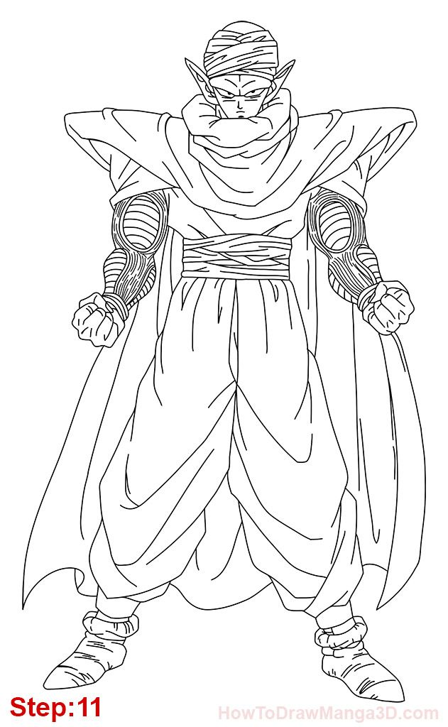 How to draw Piccolo from Dragon Ball step: 11 | Z | Pinterest ...