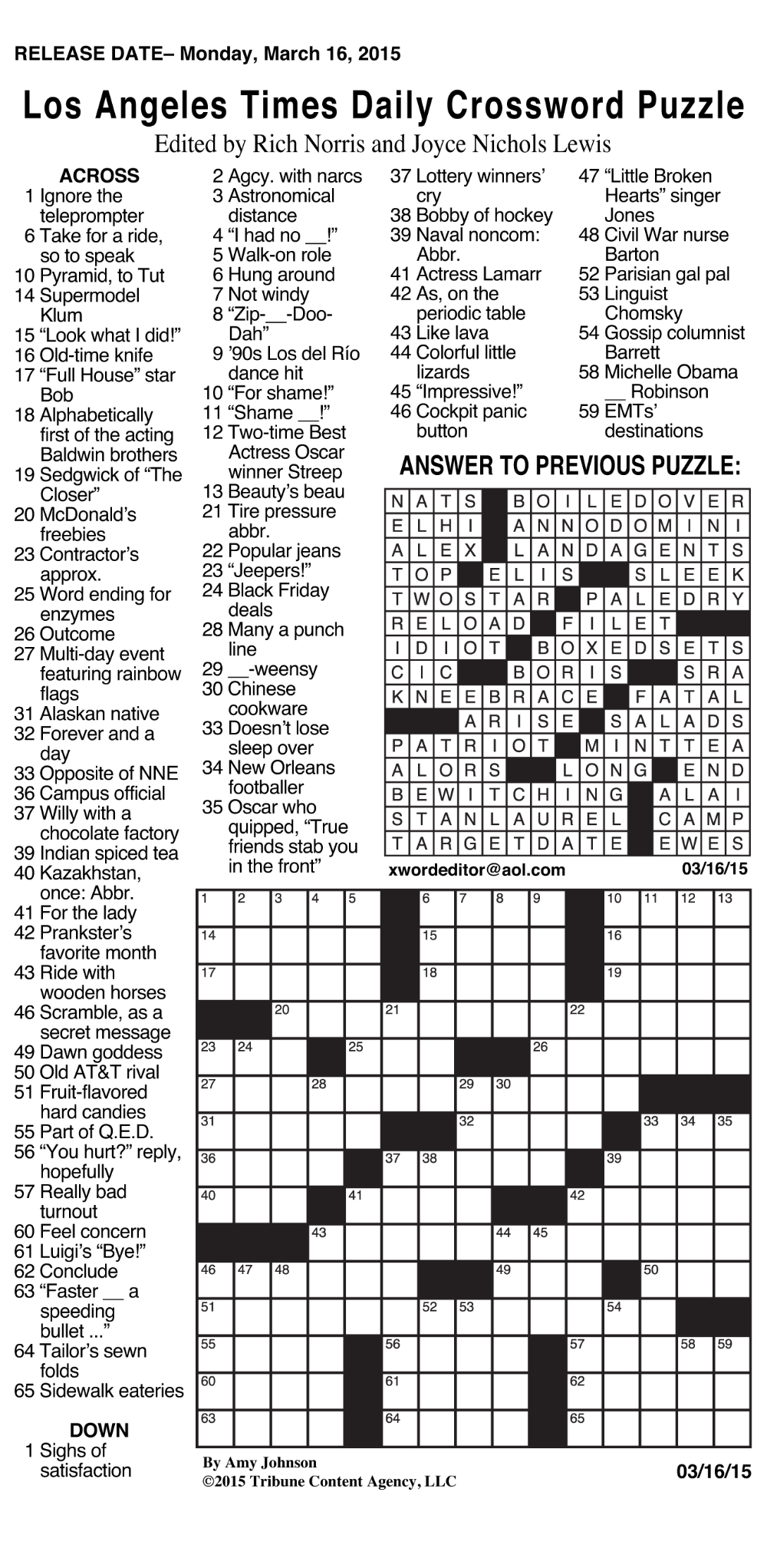 Sample of Los Angeles Times Daily Crossword Puzzle