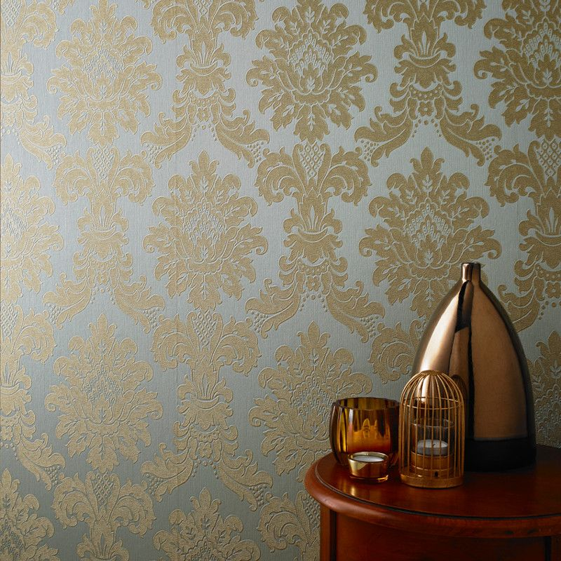 A Striking Damask Wallpaper From Arthouse In A Modern Teal And Gold Colour  Scheme. Available At Go Wallpaper UK