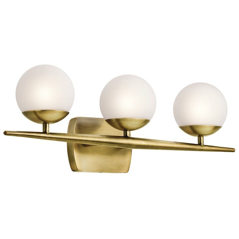 interesting bathroom light fixtures%0A This halogen bath light from the midcentury modern Kichler Jasper  collection features a gently tapered bar finished in natural brass with  satin etched