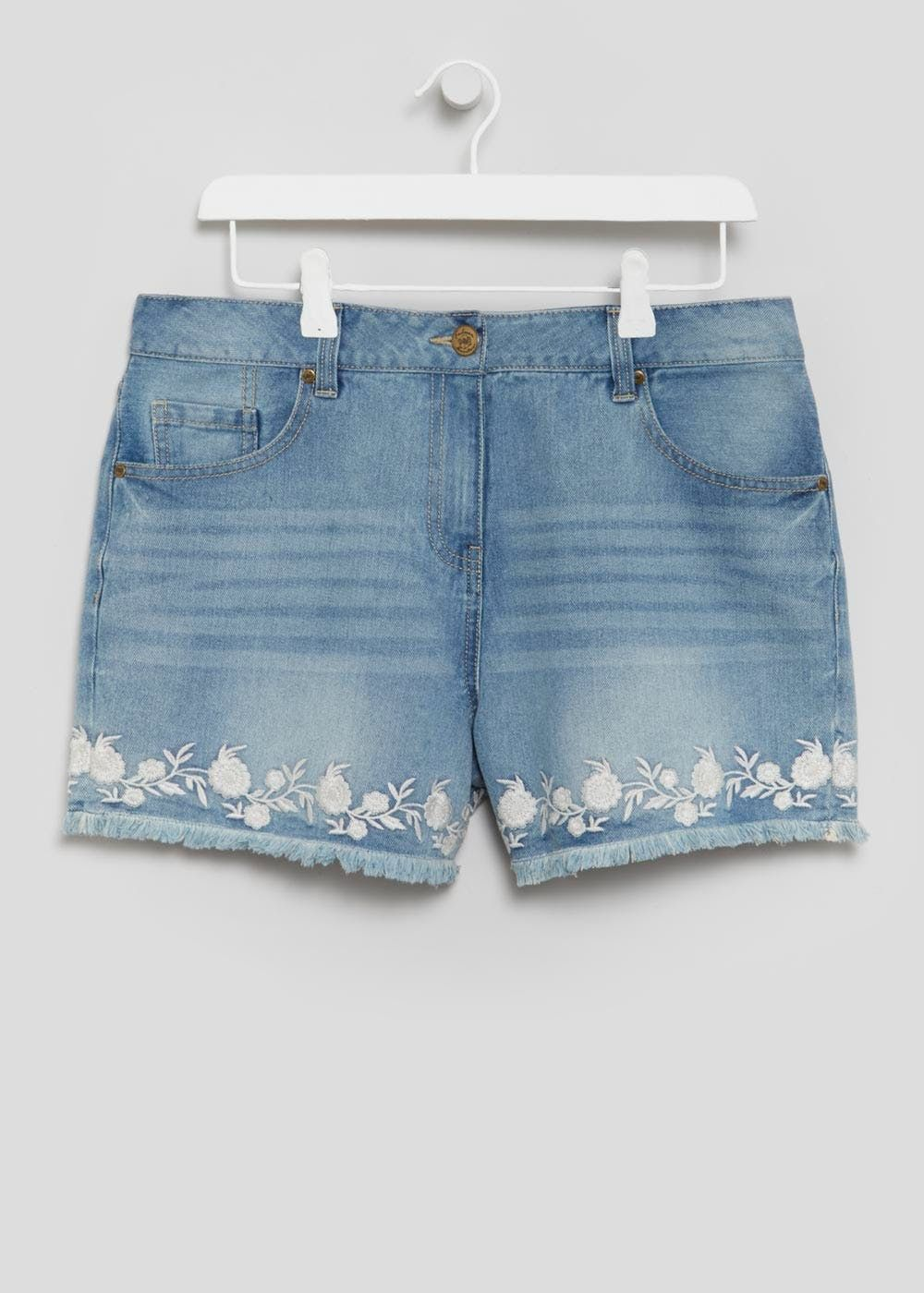 9d3d7761ab Shorts in a midwash denim with white floral embroidery at the frayed hem.  Falmer Heritage is exclusive to Matalan. The range captures the unique  effortless.