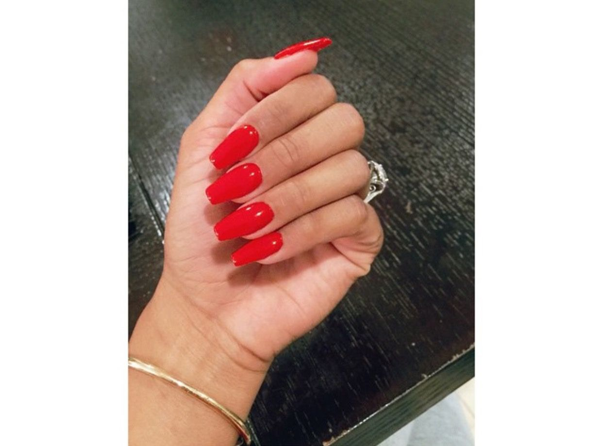 Red acrylic nails   1. Double Team + Dynamicpunch Amazing Powerful ...