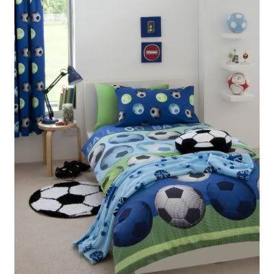 FOOTBALL GOAL SHOOT KID BOYS SINGLE BED DUVET QUILT COVER BEDDING SET GREEN BLUE