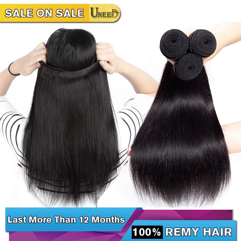 Uneed Brazilian Straight Hair Bundles 100 Human Hair Weave Bundles