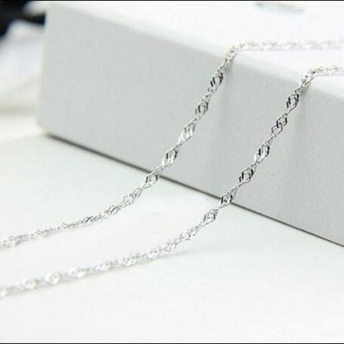 """Wholesale lots 10pcs 2mm 925 Sterling Silver Plated Wave Chain Necklace 16/""""-30/"""""""