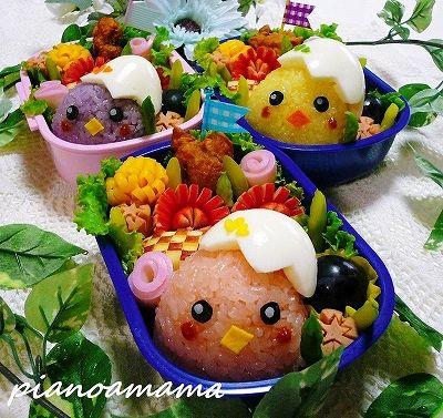 Colorful chicks bento