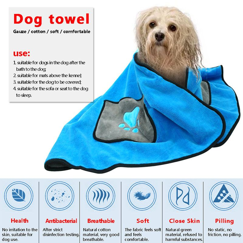 Absorbent Dog Bath Soft Microfiber Towels Quick Drying
