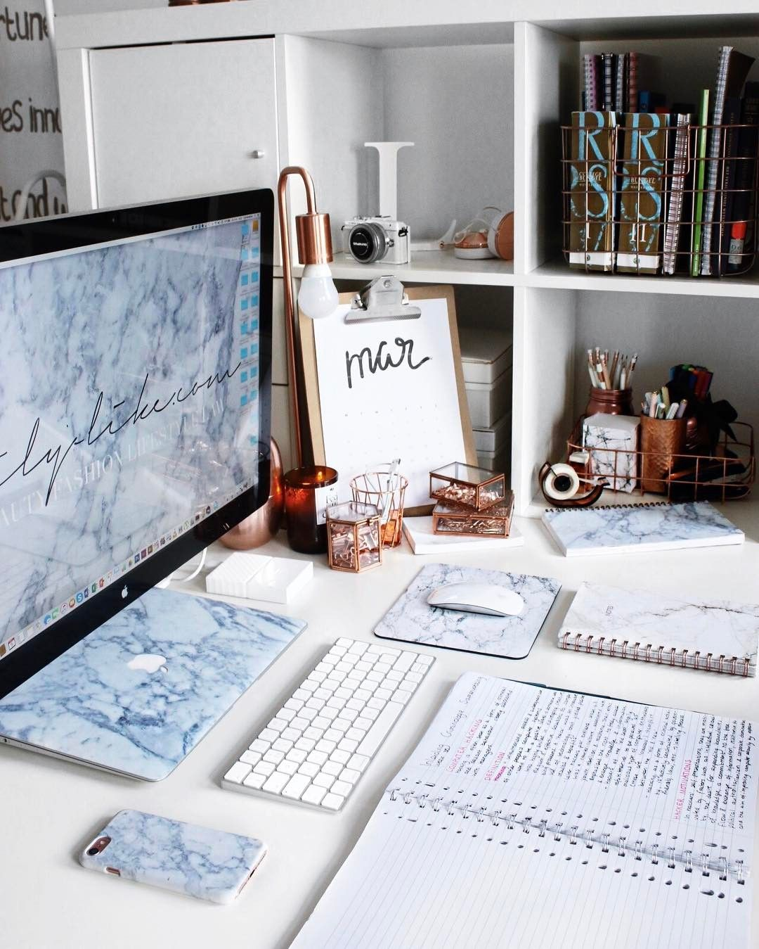 Cute Furniture For Apartments: Desk Goals By @StudyingwithLily