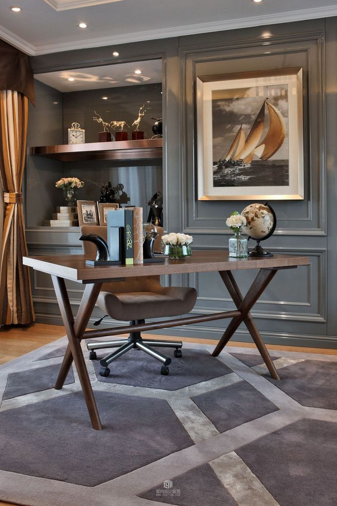 Sophisticated dark grey home office decor, Luxury, Office