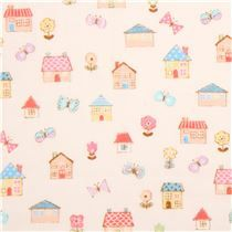 light cream double gauze fabric colorful house butterfly flower from Japan