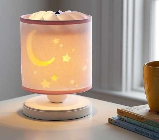 Pottery Barn Kids Moon Stars Spin Lamp New In Box In Home