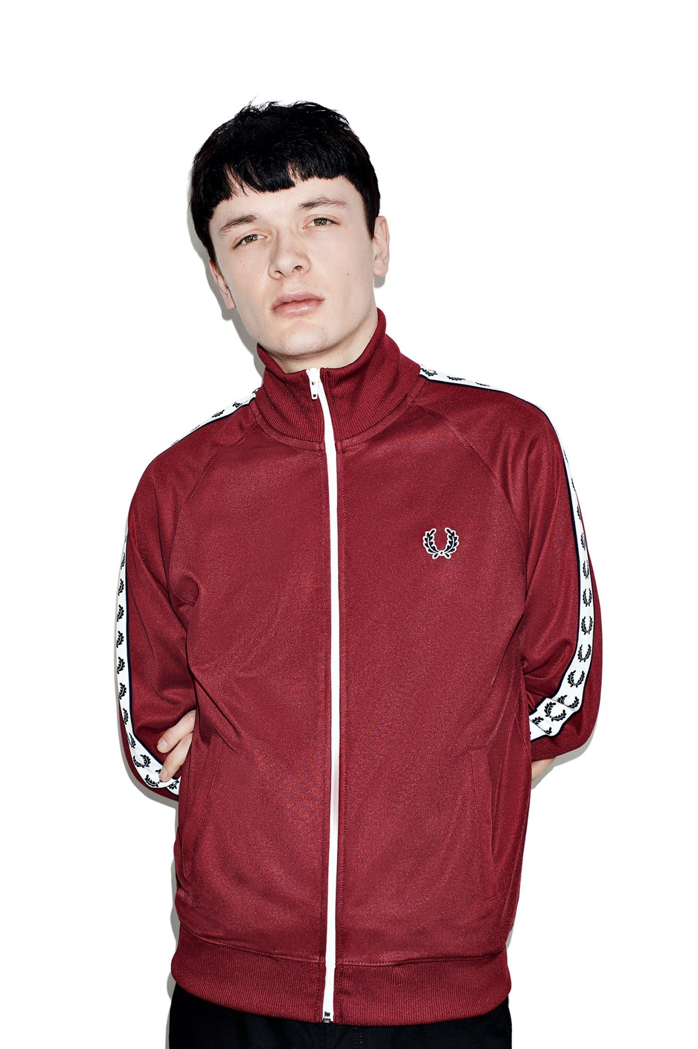 Fred Perry - Sports Authentic Laurel Taped Track Jacket Maroon