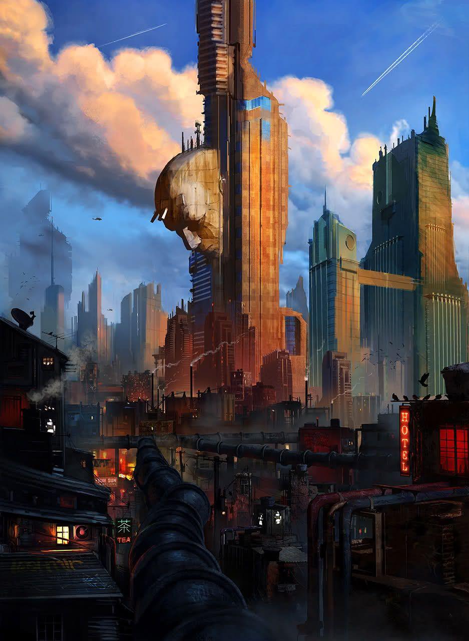 Dystopian city w/ head | RPG Art: Sci Fi and Steampunk ...