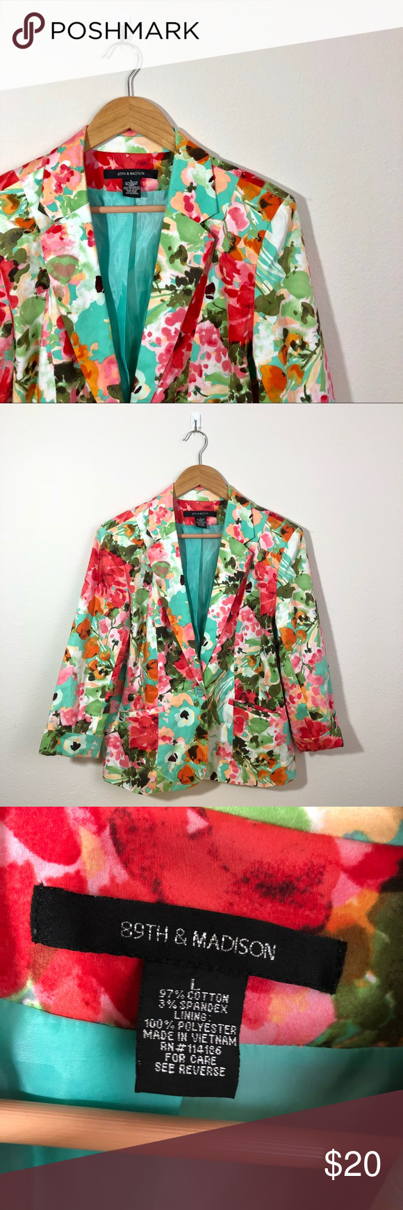 89th & Madison Floral Blazer This blazer is in perfect condition!  Size large  Great for work! Pit to pit is approx 22 inches  Length is approx 24 inches  Offers welcome!  Smoke and pet free home! No flaws like stains or holes! No modeling No trades! 89th & Madison Jackets & Coats Blazers