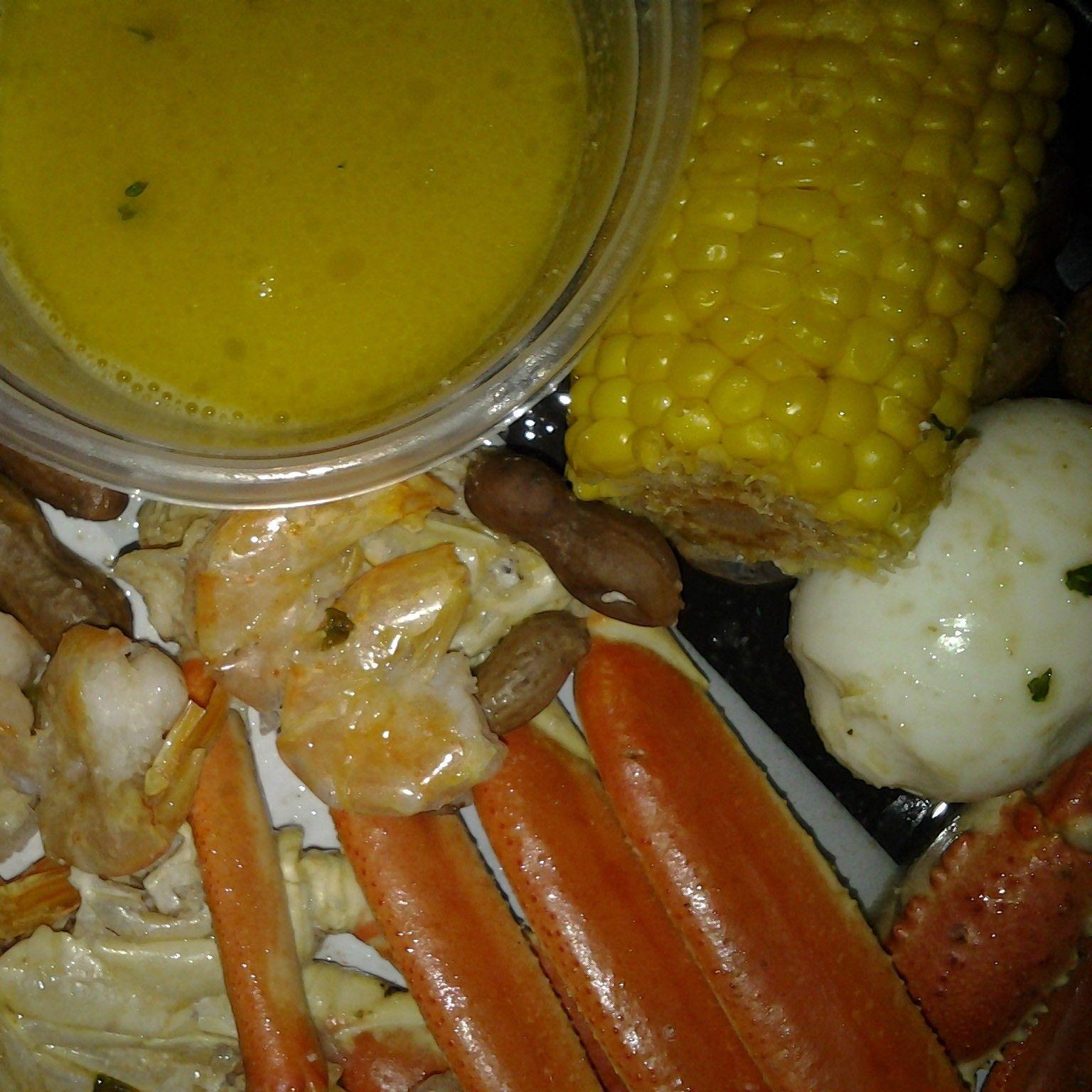 Private seafood party....#snow crabs #garlic #eggs garlic #shrimp garlic #corn sausage  garlic boil #peanuts