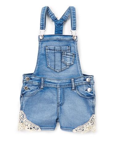 52b4019f02bb Light Sandblast Crochet Denim Overall Shorts - Toddler   Girls  zulilyfinds