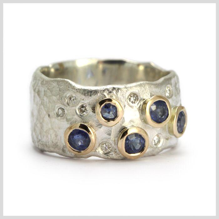 Sapphire and Diamond Handmade Bespoke Statement Ring Silver Gold
