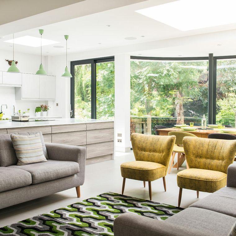 pavimento chiaro. cucina soggiorno open space con mobili della ...