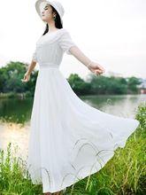 Mulheres Bohemia cor sólida meia manga de uma peça vestido de Chiffon(China (Mainland))