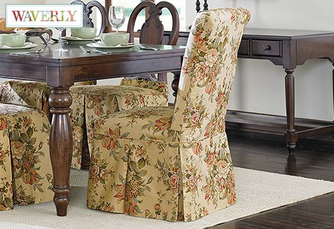 Bridgewater Floral by Waverly Long Dining Chair Slipcover