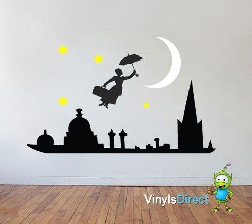 Mary Poppins Silhouette Wall Decal Sticker Mural Sku0303 Marypoppins Wallsticker Disney Wall Stickers Wall Decals Mary Poppins Party