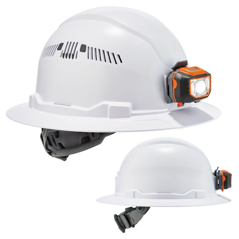 Ergodyne 8971led 8973led Full Brim Hard Hat Led Light With 4 Point Ratchet Suspension Hard Hat Hard Hats Construction Safety