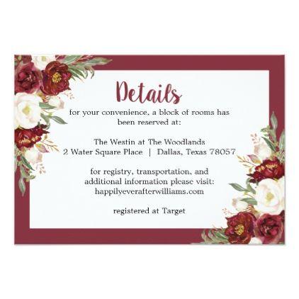 Striped Marsala Fl Wedding Accommodation Card