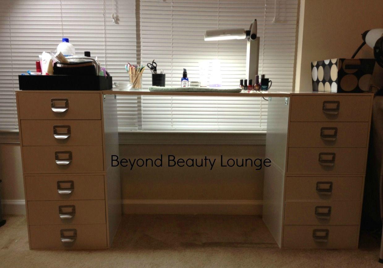 Diy Nail Polish Desk Table With Michael S Melmer Beyond Beauty Lounge Craft Storage Diy Diy Nail Polish Room Storage Diy