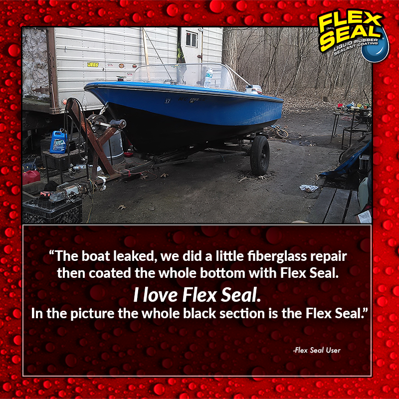 U201cThe Boat Leaked, We Did A Little Fiberglass Repair Then Coated The Whole  Bottom With Flex Seal. I Love Flex Seal. In The Picture The Whole Black  Section Is ...