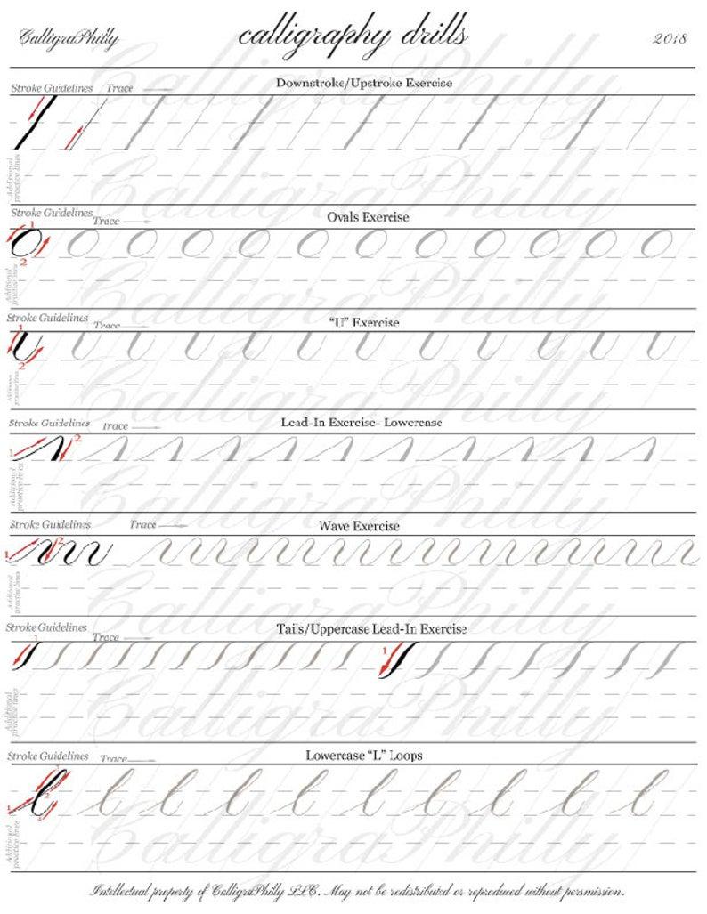 Beginner Level 1 Copperplate Calligraphy Practice Drills With Etsy In 2020 Copperplate Calligraphy Calligraphy Tutorial Calligraphy Practice Sheets Free