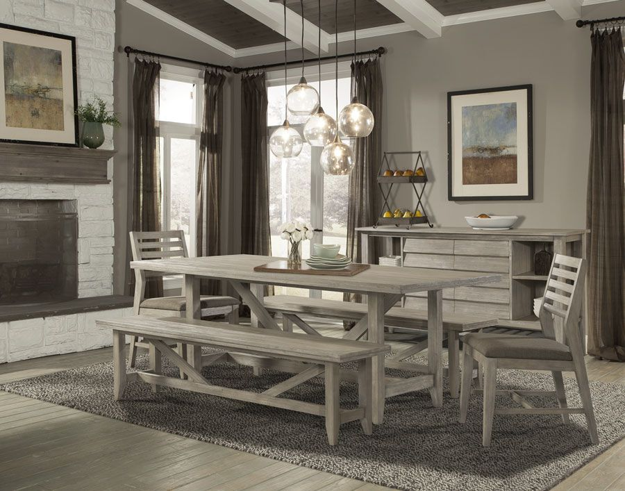 San Francisco San Jose Bay Area Cresent Kitchen Table Solid Acacia Corliss Dining Table In Wire Brushed Driftw Dining Table Kitchen Bench Set Cresent Furniture