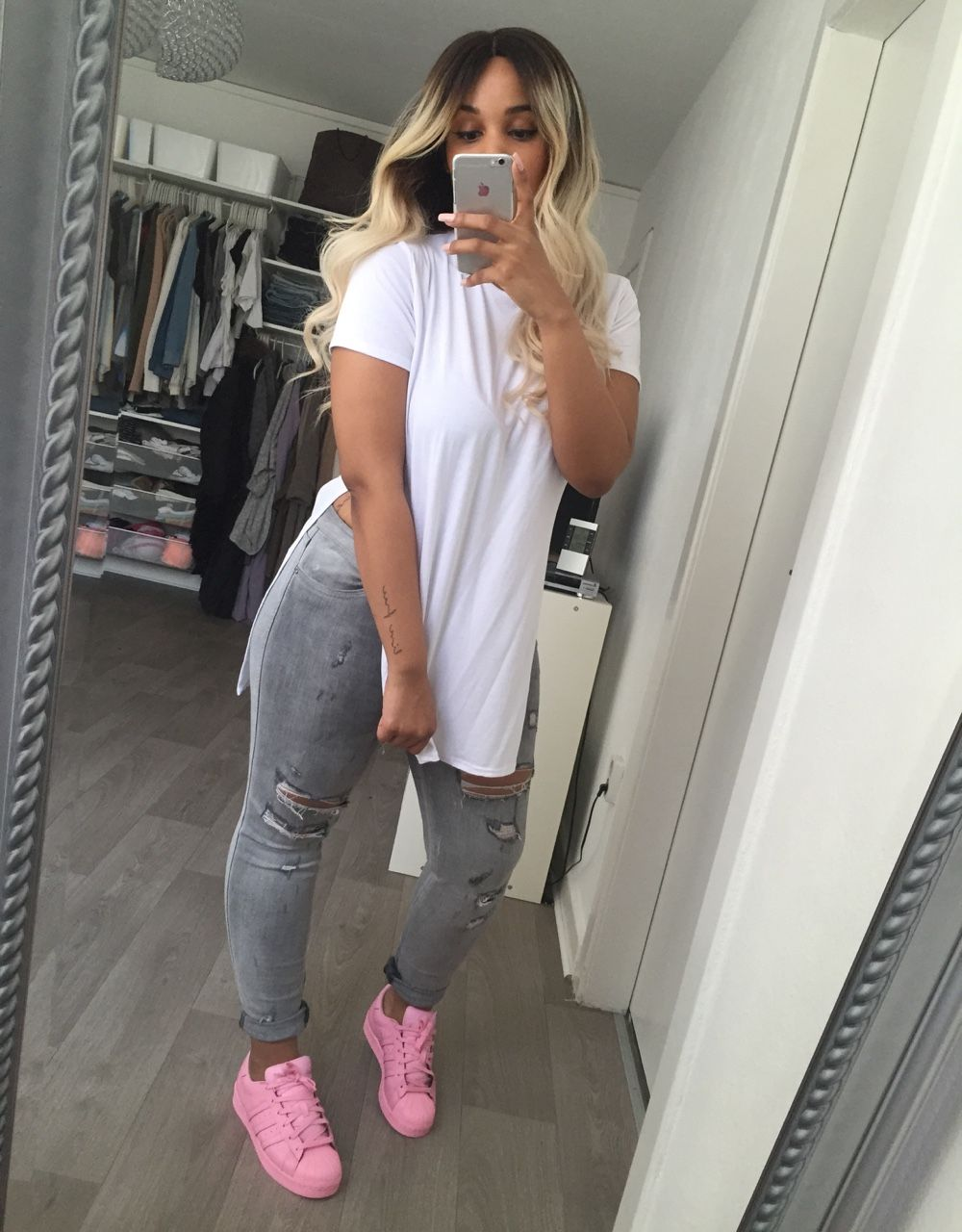 pink adidas shoes outfit