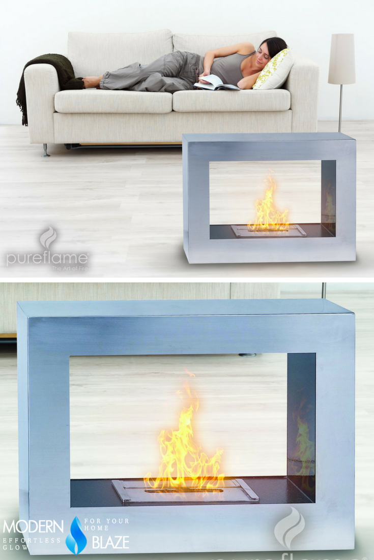 Open On Both Sides This Freestanding Ethanol Fireplace Is Ideally Placed In A Room To Provide High Level Vis Ethanol Fireplace Freestanding Fireplace Fireplace