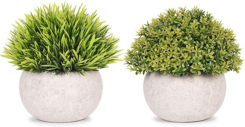 Lvydec 2 Pack Artificial Potted Plants Mini Sized Fake Topiary Plants In Pots For Bathroom Office De Artificial Potted Plants Topiary Plants Fake Plants Decor