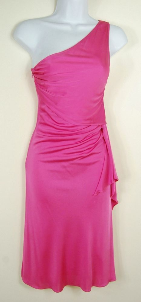 Valentino 2 New Pink One-shoulder Dress Cocktail Party Slinky Viscose Drape XS #Valentino #OneShoulder #Cocktail